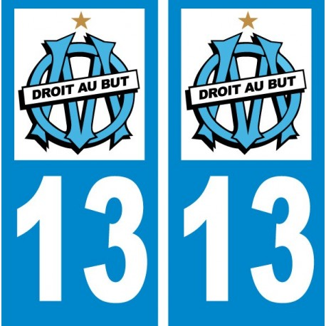 Sticker autocollant plaque d'immatriculation olympique de Marseille