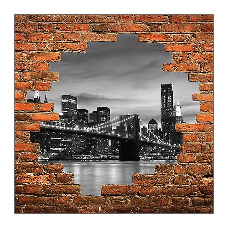 sticker mural trompe l 39 oeil mur de pierre pont new york brooklyn r f 848 stickers muraux deco. Black Bedroom Furniture Sets. Home Design Ideas