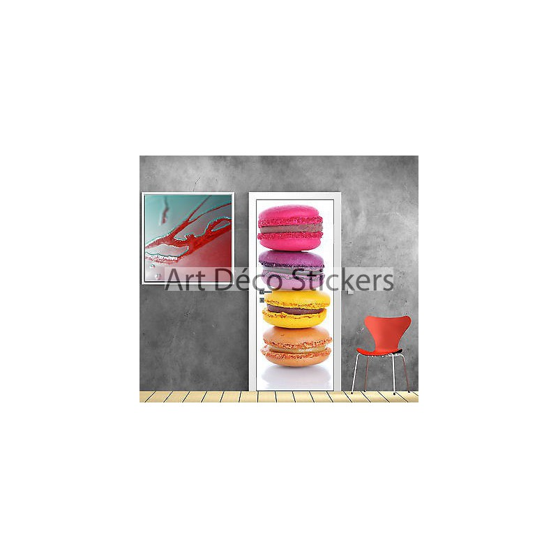 Sticker pour porte d co cuisine macaron r f 726 stickers for Stickers pour porte de cuisine
