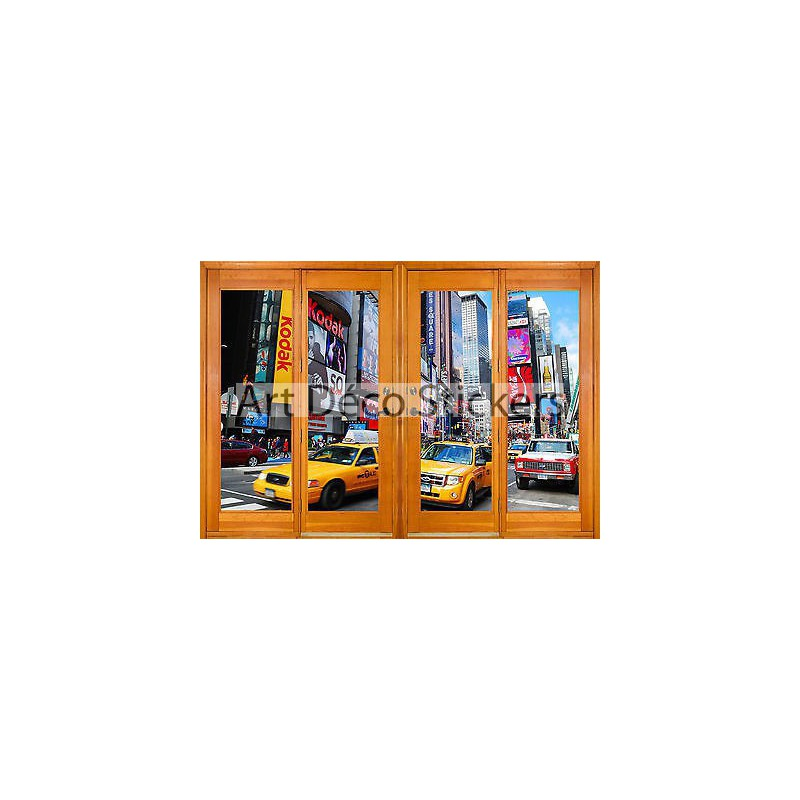 Stickers fen tre trompe l 39 oeil new york r f 2546 10 for Stickers fenetre new york