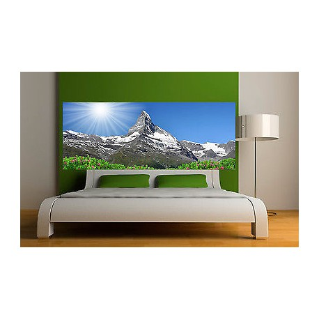 sticker t te de lit d coration murale paysage montagne r f 3617 stickers muraux deco. Black Bedroom Furniture Sets. Home Design Ideas