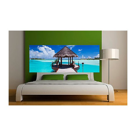 sticker t te de lit d coration murale les seychelles r f. Black Bedroom Furniture Sets. Home Design Ideas