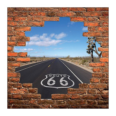 sticker mural trompe l 39 oeil mur de pierre d co route 66 r f 879 stickers muraux deco. Black Bedroom Furniture Sets. Home Design Ideas