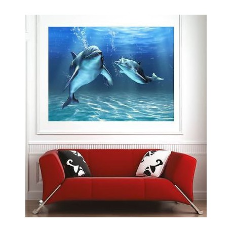 affiche poster d coration murale dauphins r f 52734868 6 dimensions stickers muraux deco. Black Bedroom Furniture Sets. Home Design Ideas