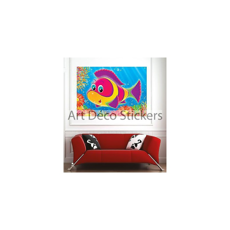 affiche poster d coration murale enfant poisson r f 1945458 6 dimensions stickers muraux deco. Black Bedroom Furniture Sets. Home Design Ideas