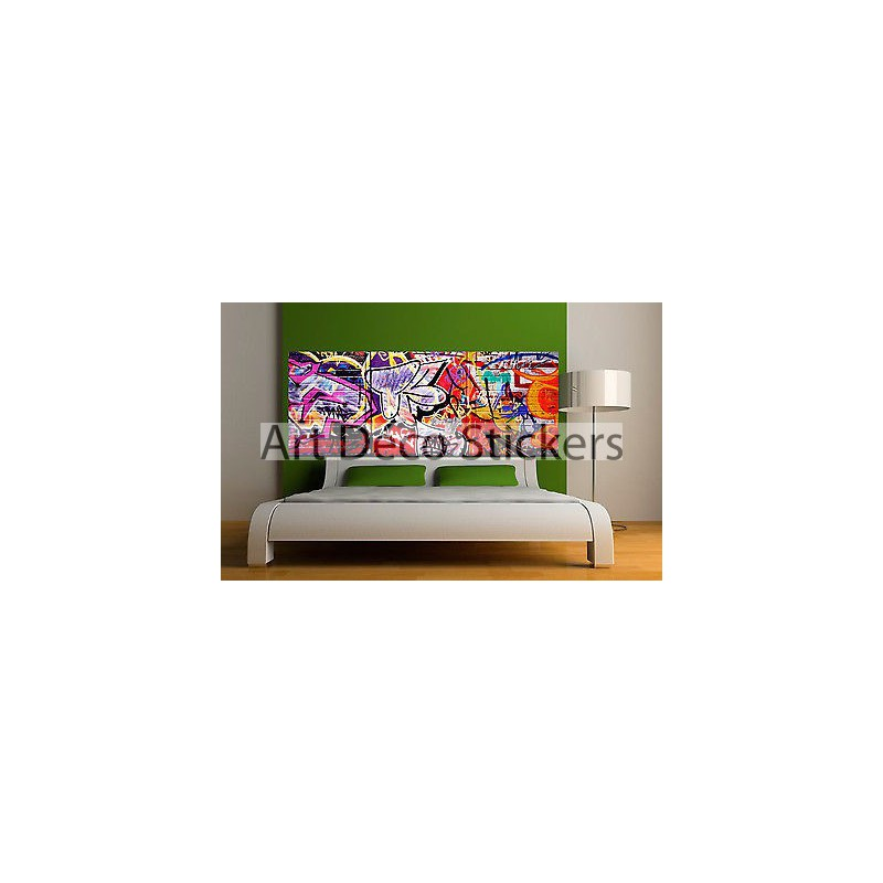 Sticker t te de lit d coration murale tag graffiti r f for Decoration murale tete animaux