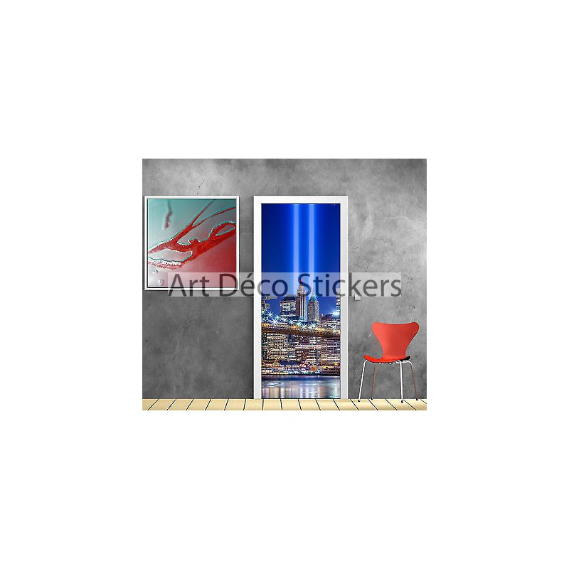 Stickers porte trompe l 39 oeil d co new york lumi re r f 825 stickers mur - Sticker porte new york ...