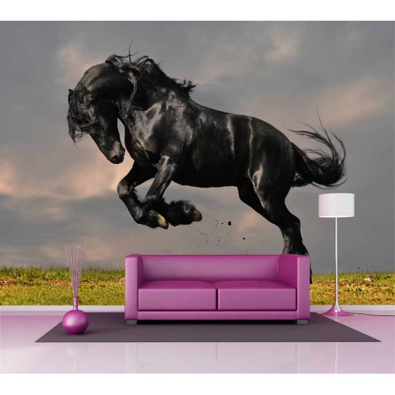 papier peint grand format cheval 2 6x3 6 m stickers muraux deco. Black Bedroom Furniture Sets. Home Design Ideas
