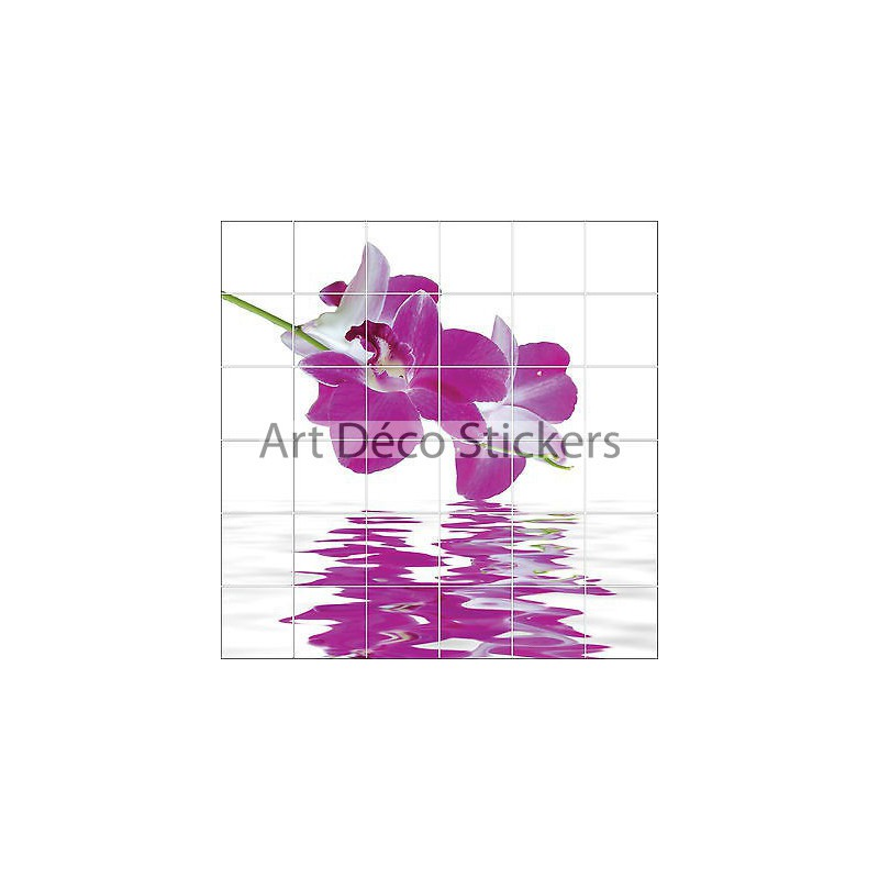 stickers carrelage mural faience d co cuisine ou salle de bain orchid er f 1858 stickers. Black Bedroom Furniture Sets. Home Design Ideas