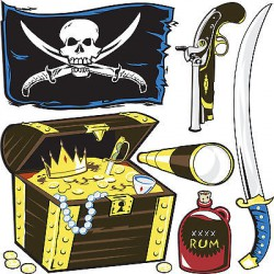 Stickers kit enfant planche de stickers Pirates réf 3588 (12 dimensions)