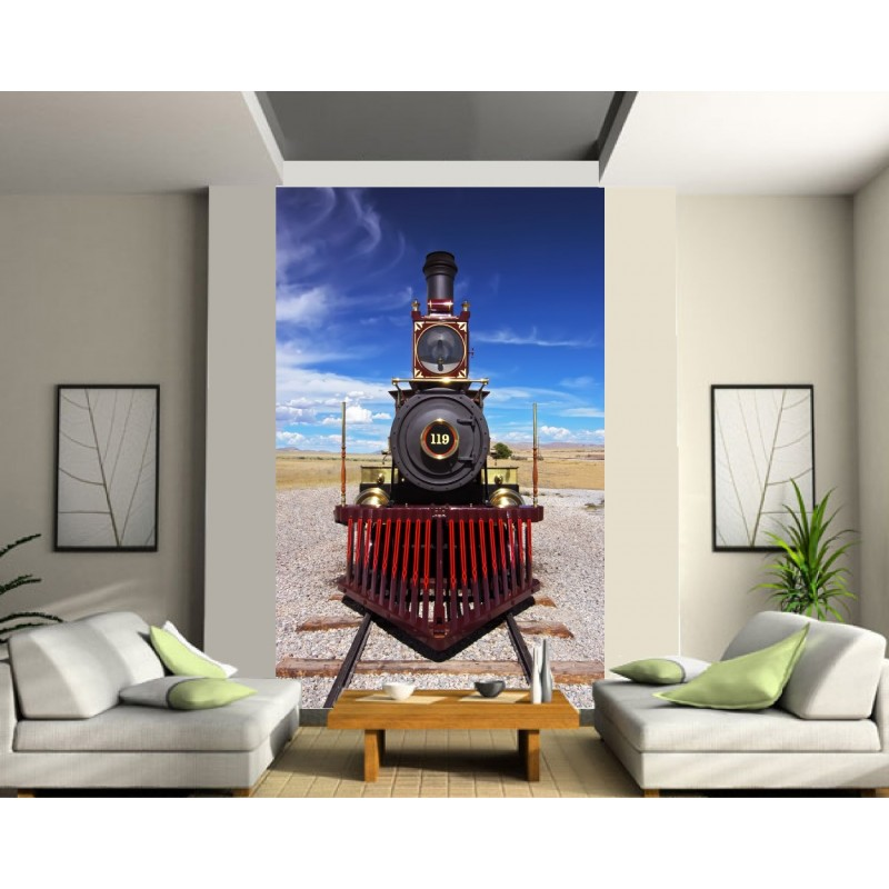 papier peint trompe l 39 oeil train vapeur stickers muraux deco. Black Bedroom Furniture Sets. Home Design Ideas