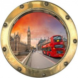 Stickers hublot Plage Londres Bus 8822