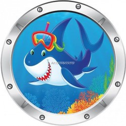Sticker hublot enfant trompe l'oeil Requin 30x30cm 032