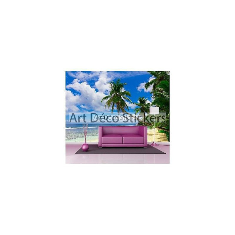Stickers muraux g ant d co plage des cara bes 1516 for Plage stickers muraux