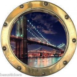 Stickers hublot trompe l'oeil New York réf: 8818