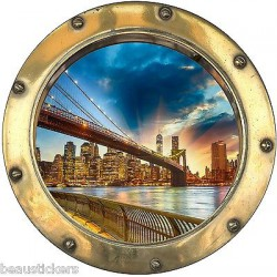 Stickers hublot trompe l'oeil New York réf: 8816
