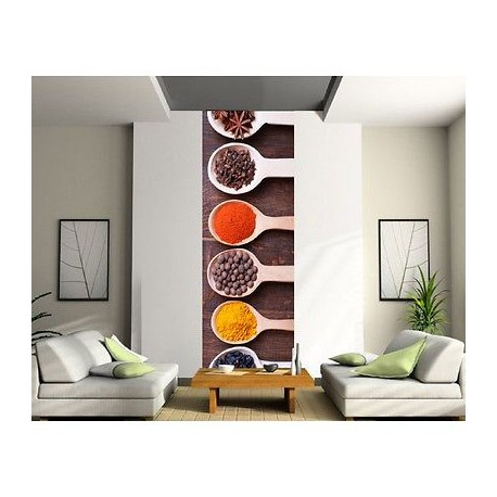 papier peint l unique cuisine epices 2044 stickers muraux deco. Black Bedroom Furniture Sets. Home Design Ideas