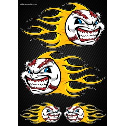 Stickers autocollants Moto Flames Baseball Format A4 2501