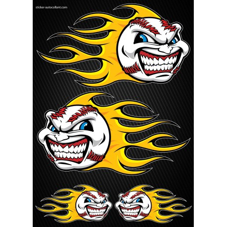 Stickers autocollants Moto Flames Baseball Format A3 2501