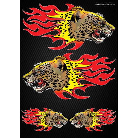 Stickers autocollants Moto Flames Panthere Format A3 2502