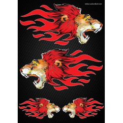 Stickers autocollants Moto Flames Lion Format A4 2504