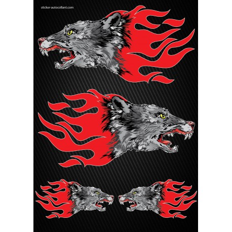 Stickers autocollants Moto Flames Loup Format A4 2505