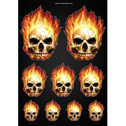 Stickers autocollants Moto Skull Flames Format A4 2506