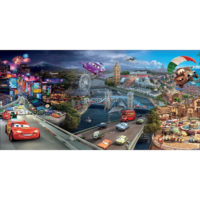 Stickers chambre d 39 enfant t te de lit cars 2 r f 8482 for Stickers chambre d enfant