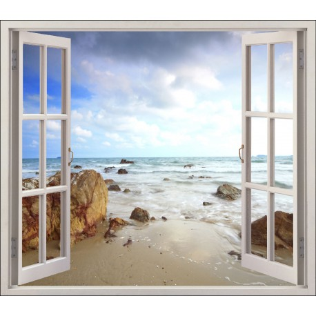 Sticker fen tre d co mer plage r f 5425 stickers muraux deco - Tableau trompe l oeil fenetre ...