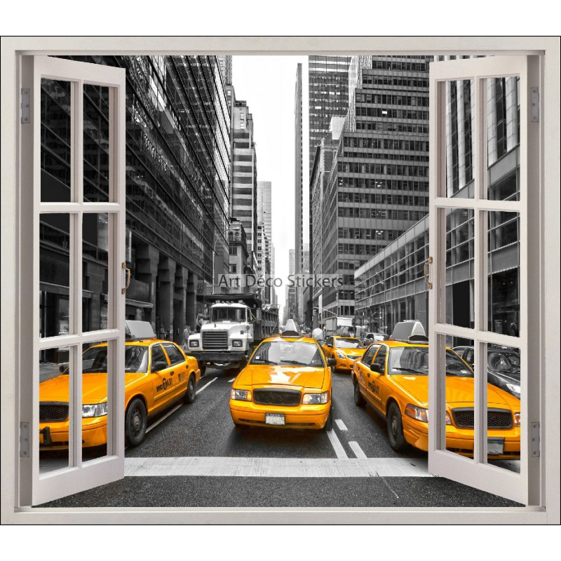sticker fen tre trompe l 39 oeil new york taxi r f 5460 stickers muraux deco. Black Bedroom Furniture Sets. Home Design Ideas