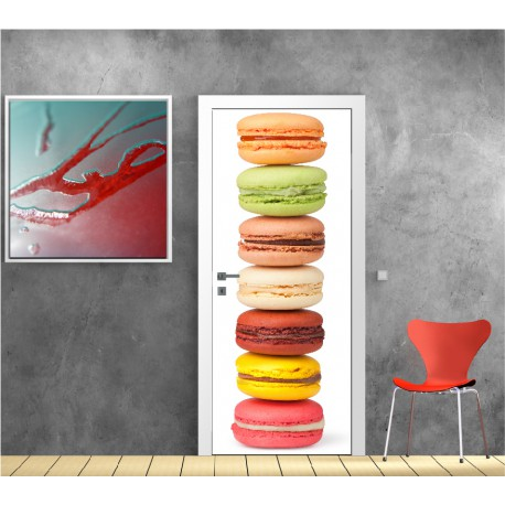 affiche poster pour porte cuisine macaron r f 9511 stickers muraux deco. Black Bedroom Furniture Sets. Home Design Ideas