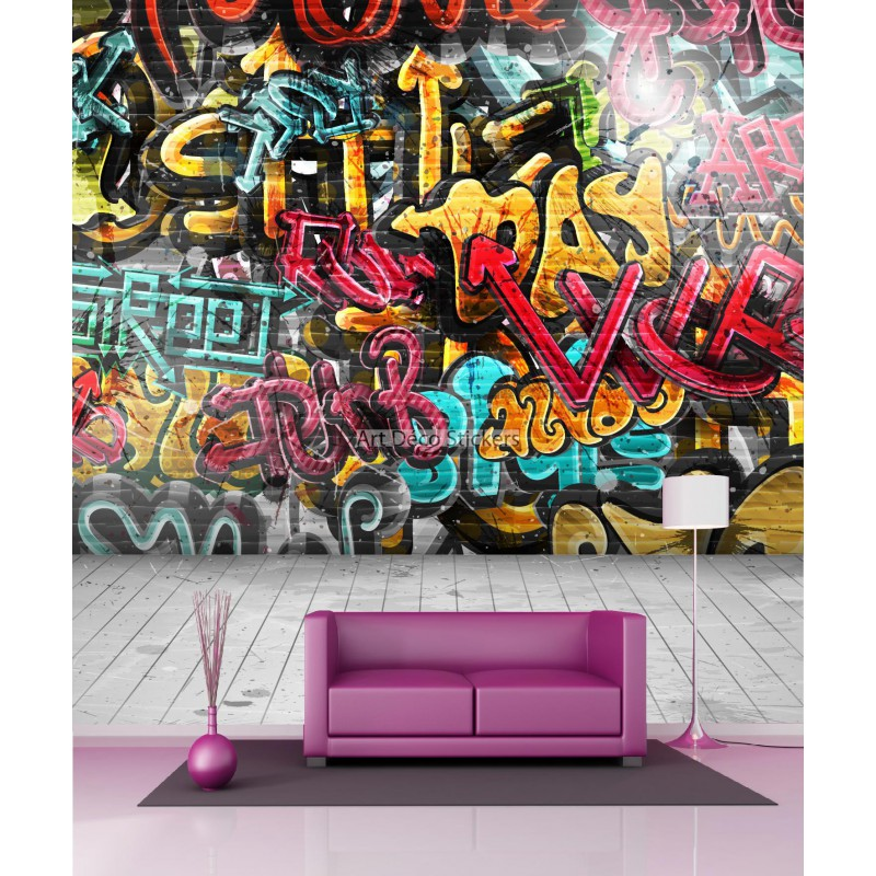 papier peint g ant graffiti 11059 stickers muraux deco. Black Bedroom Furniture Sets. Home Design Ideas