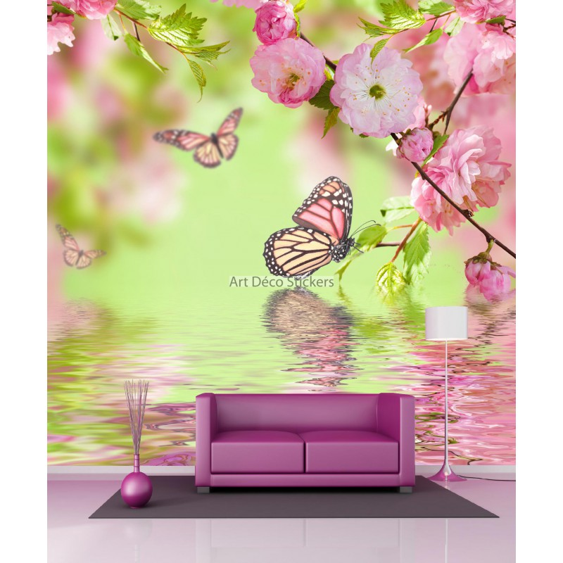 papier peint g ant papillons et fleurs 11066 stickers. Black Bedroom Furniture Sets. Home Design Ideas