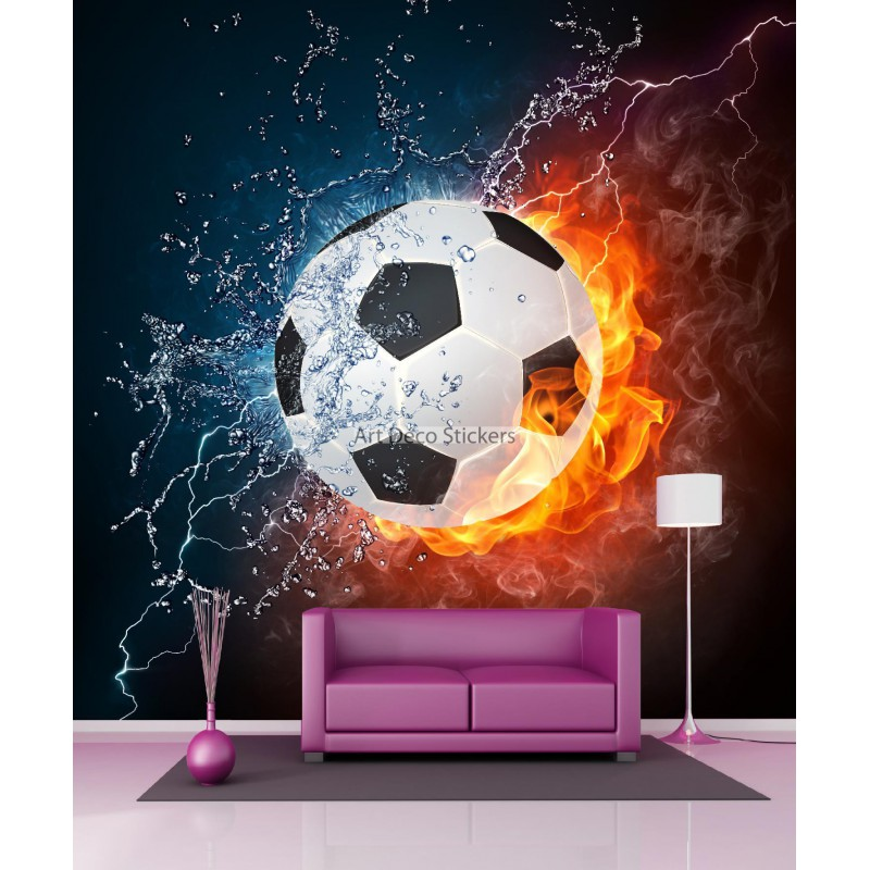 papier peint g ant ballon de foot 11080 stickers muraux deco. Black Bedroom Furniture Sets. Home Design Ideas