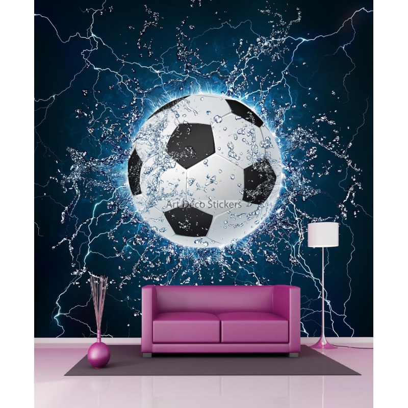 papier peint g ant ballon de foot 11085 stickers muraux deco. Black Bedroom Furniture Sets. Home Design Ideas