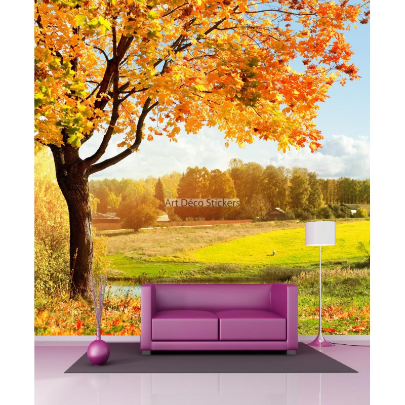 papier peint g ant saison l 39 automne 11099 stickers muraux deco. Black Bedroom Furniture Sets. Home Design Ideas