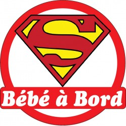 Stickers Bébé à bord Superman 16x16cm réf 15141