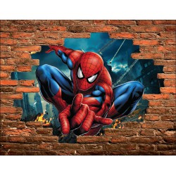 Stickers Trompe l'oeil pierre Spiderman réf 15143