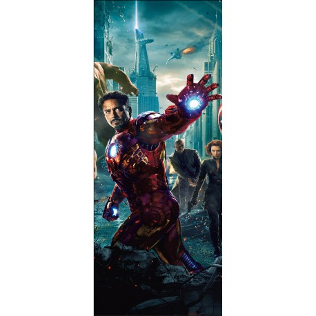 Sticker enfant porte Avengers Iron Man réf 15173
