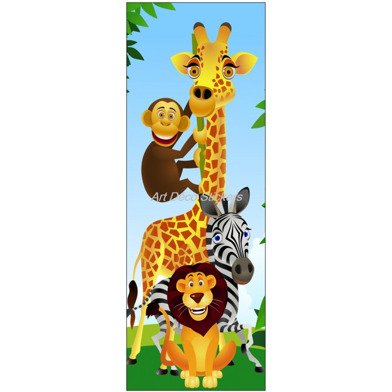 sticker de porte enfant animaux de la jungle stickers muraux deco. Black Bedroom Furniture Sets. Home Design Ideas