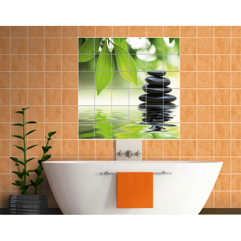 Sticker carrelage mural d co galets stickers muraux deco for Carrelage galets