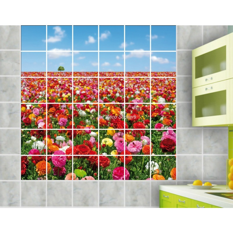 Stickers carrelage mural d co champs de fleurs stickers - Carrelage mural auto adhesif ...