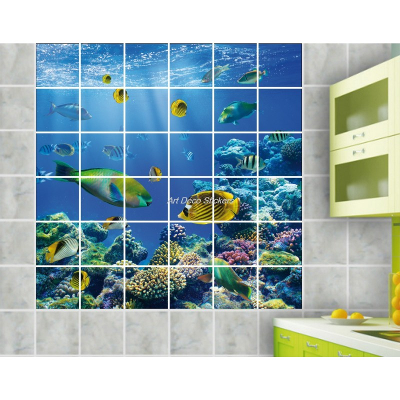 Stickers carrelage mural d co poissons stickers muraux deco for Carrelage ecaille poisson