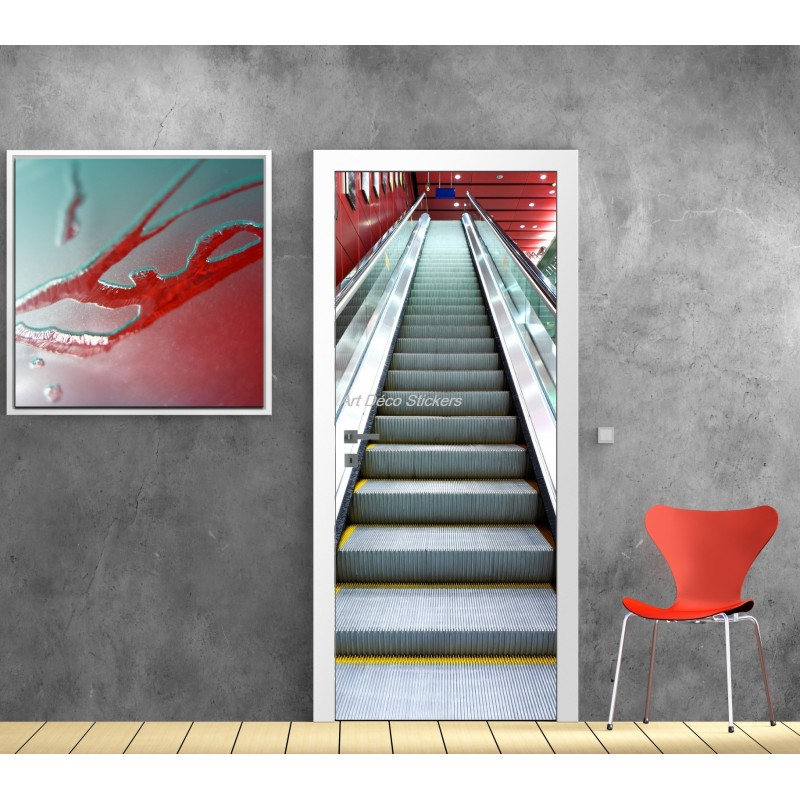 affiche poster pour porte trompe l 39 oeil escalator stickers muraux deco. Black Bedroom Furniture Sets. Home Design Ideas