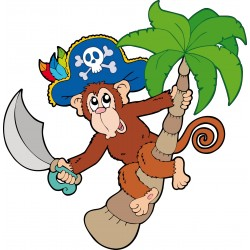 Sticker enfant décoration murale Singe pirate
