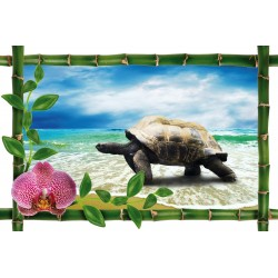 Sticker Bambou déco tortue