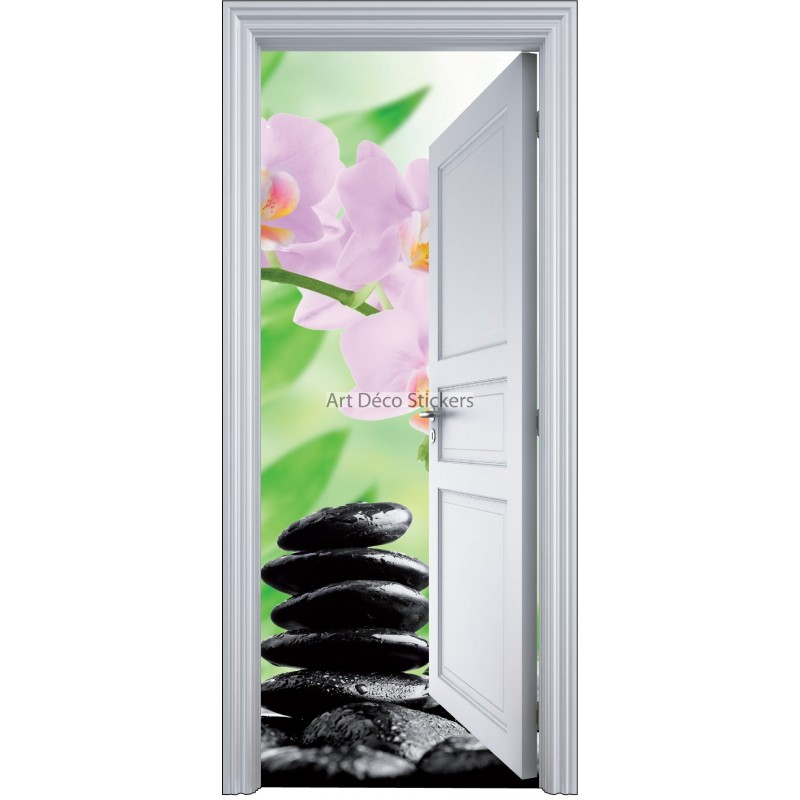 Sticker porte trompe l 39 oeil galets zen 90x200cm stickers for Decoration porte interieure poster sticker
