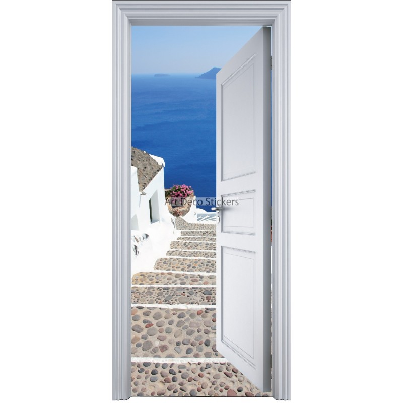 Sticker porte trompe l 39 oeil l 39 escalier sur la mer 90x200cm for Decoration porte interieure poster sticker