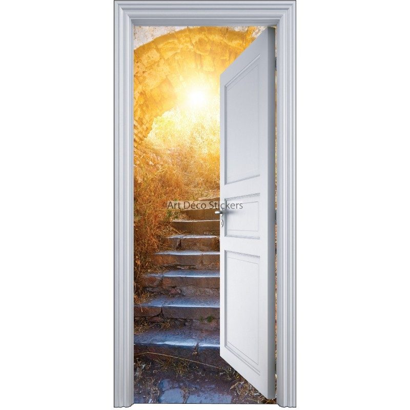 Sticker porte trompe l 39 oeil dans la cave 90x200cm for Decoration porte interieure poster sticker