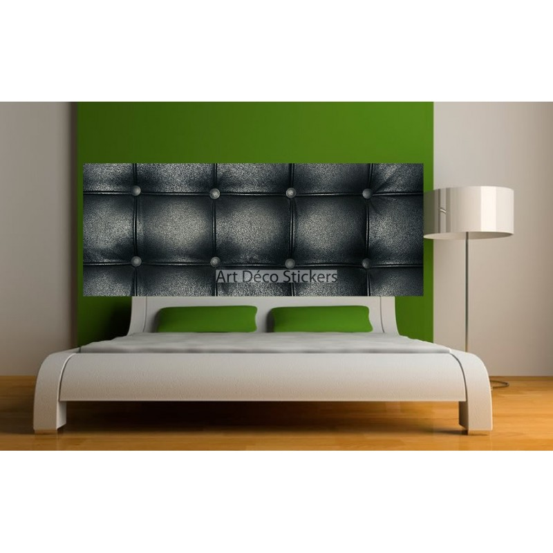 stickers t te de lit d co effet capitonn noir stickers muraux deco. Black Bedroom Furniture Sets. Home Design Ideas